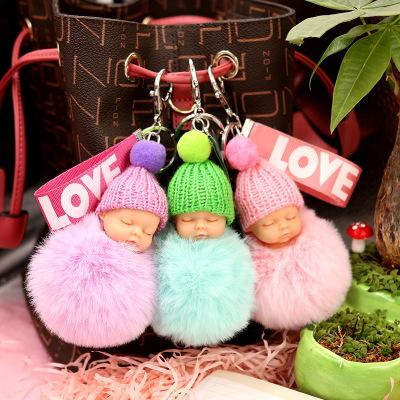 Sleeping doll keychain