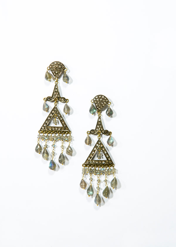 Diamond & Labradorite Earrings in 14K Gold & Silver 3467-Earrings-Gretchen Ventura