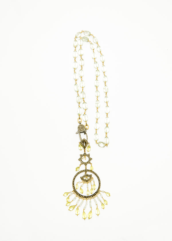 Diamond, Lemon Topaz, Blue Topaz in 14K Gold & Silver w/ Faceted Green Amethyst Rosary Chain #9329-Necklaces-Gretchen Ventura