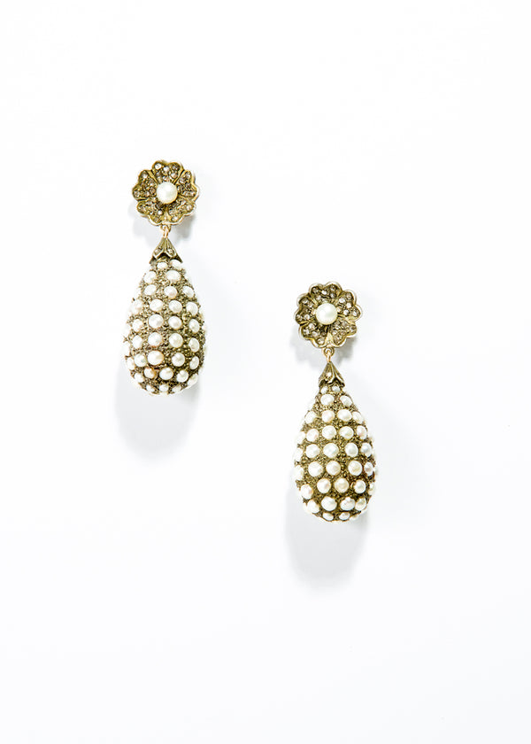 Diamond and Pearl Tear Drop Earrings in 14K Gold & Silver #3466-Earrings-Gretchen Ventura