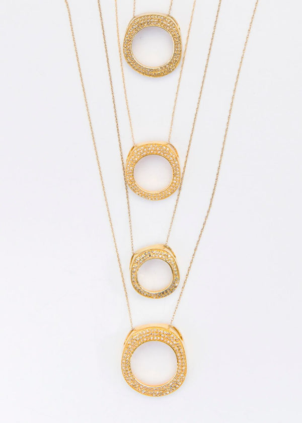 Pave Diamond Organic Circle (Gold Plate) on 14K Gold Chain #6059-Necklaces-Gretchen Ventura