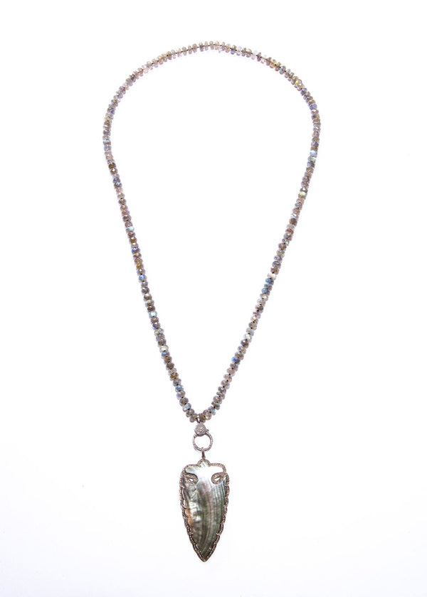 Diamond Encrusted Mother of Pearl Arrowhead w/ 8 mm Faceted Labradorite & Diamond Clasp #1074-Necklaces-Gretchen Ventura