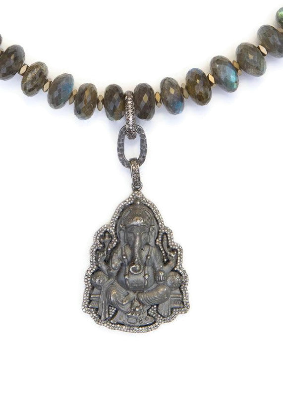 Faceted Labradorite Beads, Hematite rings W/Frosted Sterling Ganesha Pendant #1094-Necklaces-Gretchen Ventura