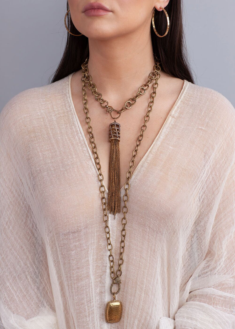 Gold Plate & Diamond Cage Patina'd Sterling Chain Tassel, Hand Hammered Brass Chain 1879-Necklaces-Gretchen Ventura