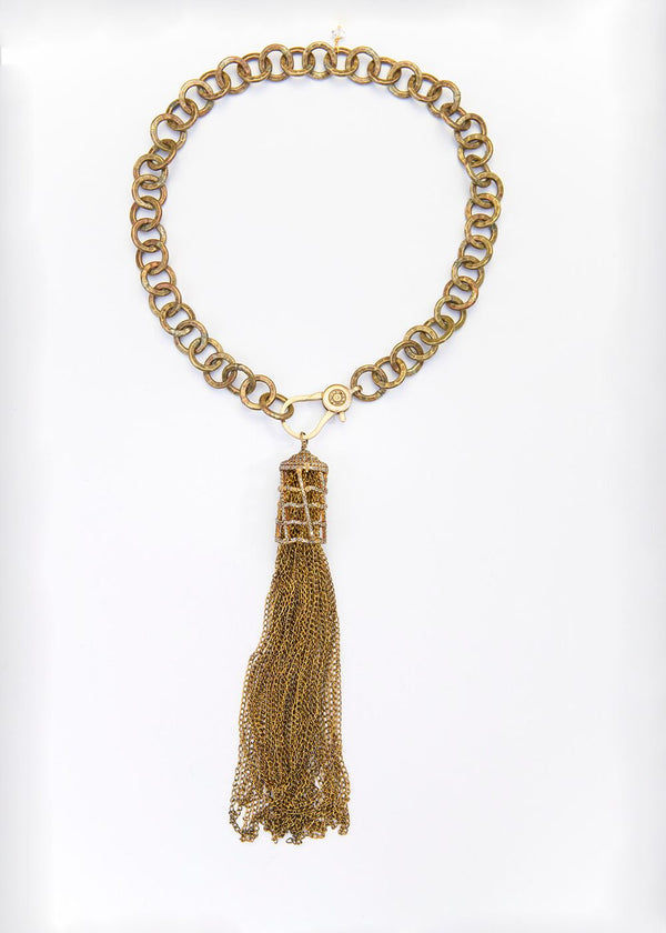 Gold Plate & Diamond Cage Patina'd Sterling Chain Tassel, Hand Hammered Brass Chain #1879-Necklaces-Gretchen Ventura