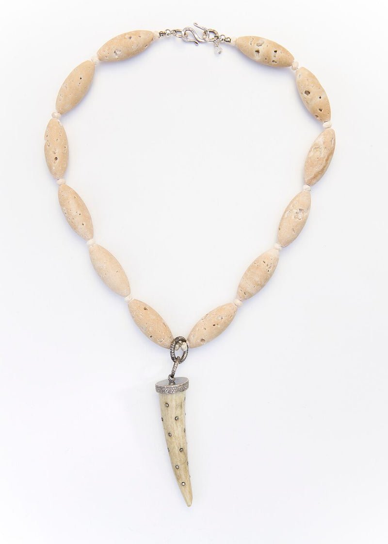 Roman Travertine & Faceted River Stone Beads, Diamond Encrusted Tusk 1886-Necklaces-Gretchen Ventura