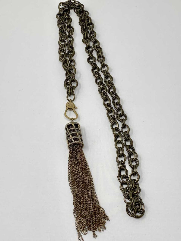 Double Looped Brass Chain, Diamond Clasp w/ Diamond Cage & Sterling Tassel 1888-Necklaces-Gretchen Ventura
