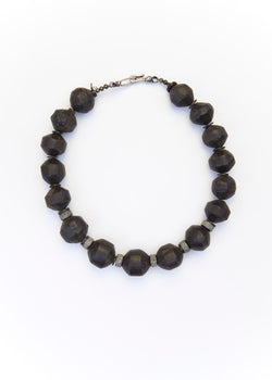 Hand Carved Moroccan Ebony Dark Wood Beads & Diamond Wheels 1938-Necklaces-Gretchen Ventura