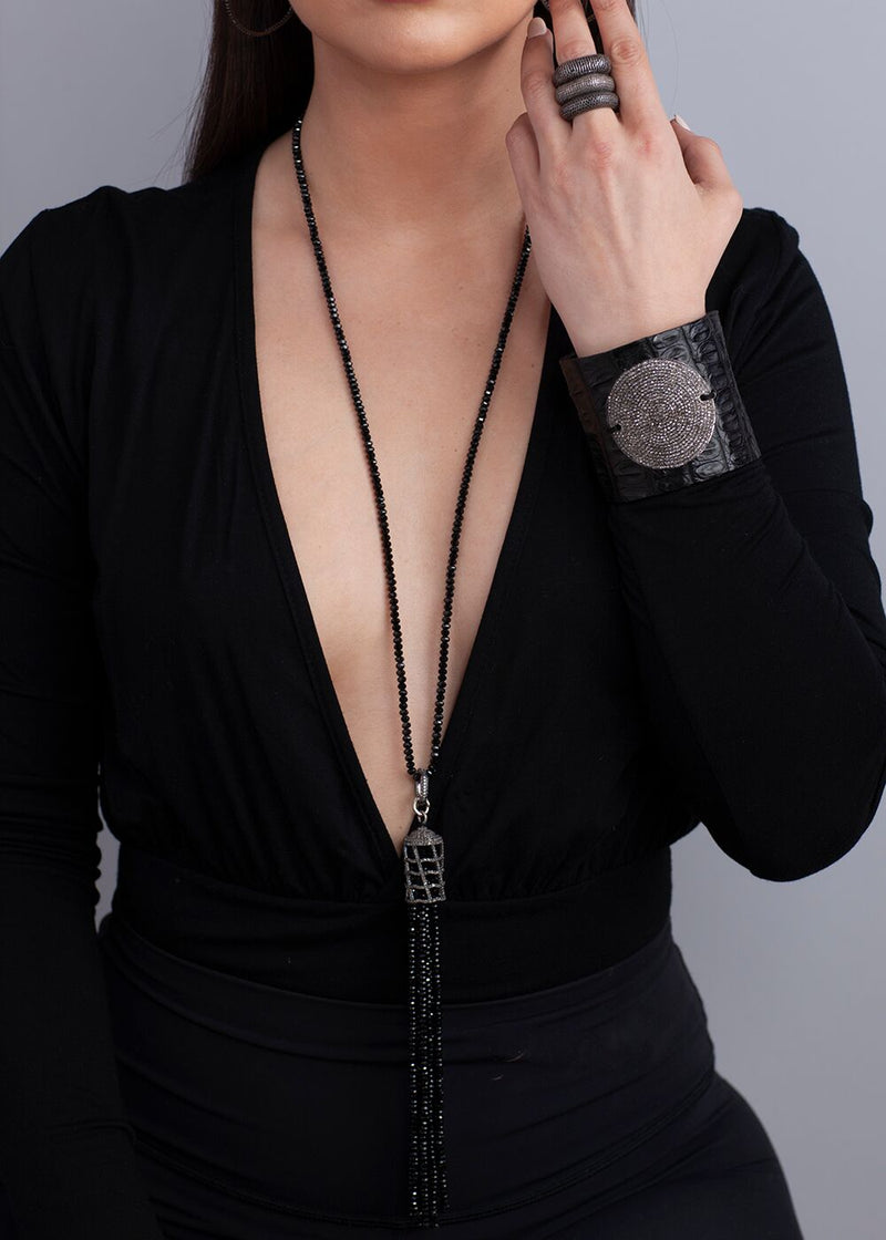 "Diamond Cut Faceted Black Spinel, Diamond Clasp w/Diamond Cage & Faceted Black Spinel Tassel (36""+ 9"")-Necklaces-Gretchen Ventura"