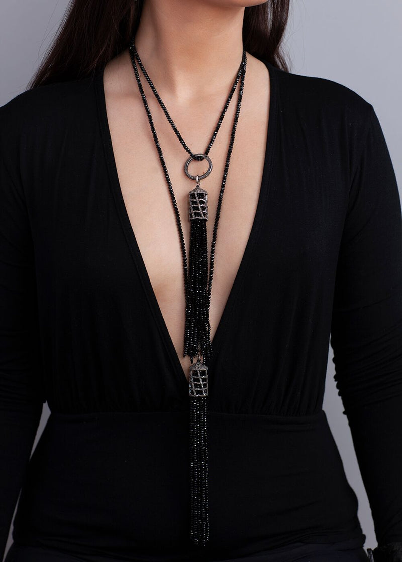 Diamond Faceted Black Spinel Choker & Diamond Cage w/Faceted Black Spinel Tassel #1957-Necklaces-Gretchen Ventura
