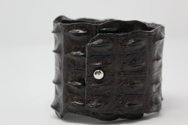 Black Crocodile Cuff w/ Diamond Disc 2588-Bracelets-Gretchen Ventura