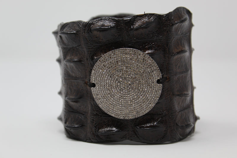 Black Crocodile Cuff w/ Diamond Disc #2588-Bracelet-Gretchen Ventura