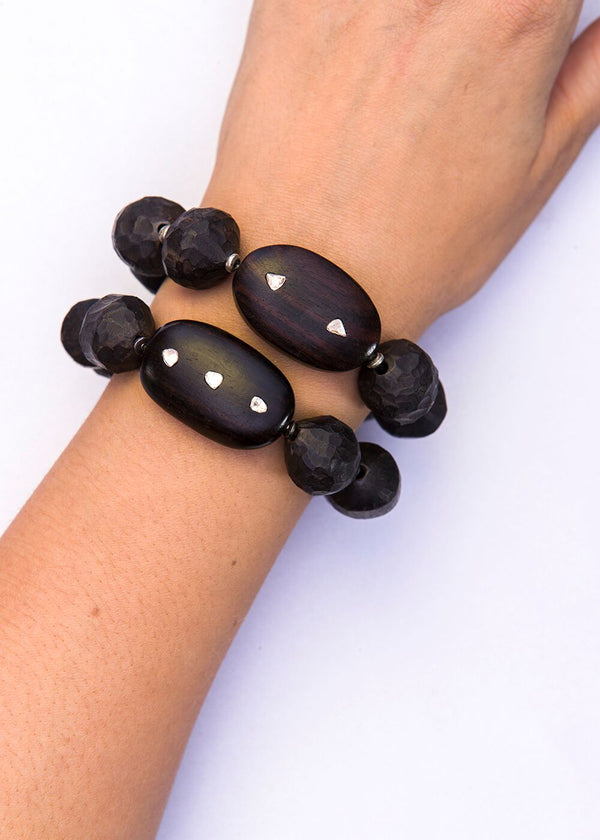 Vintage Hand Carved Dark Wood Indonesian Beads, Diamond Slice Wood Bead 2630-Bracelets-Gretchen Ventura