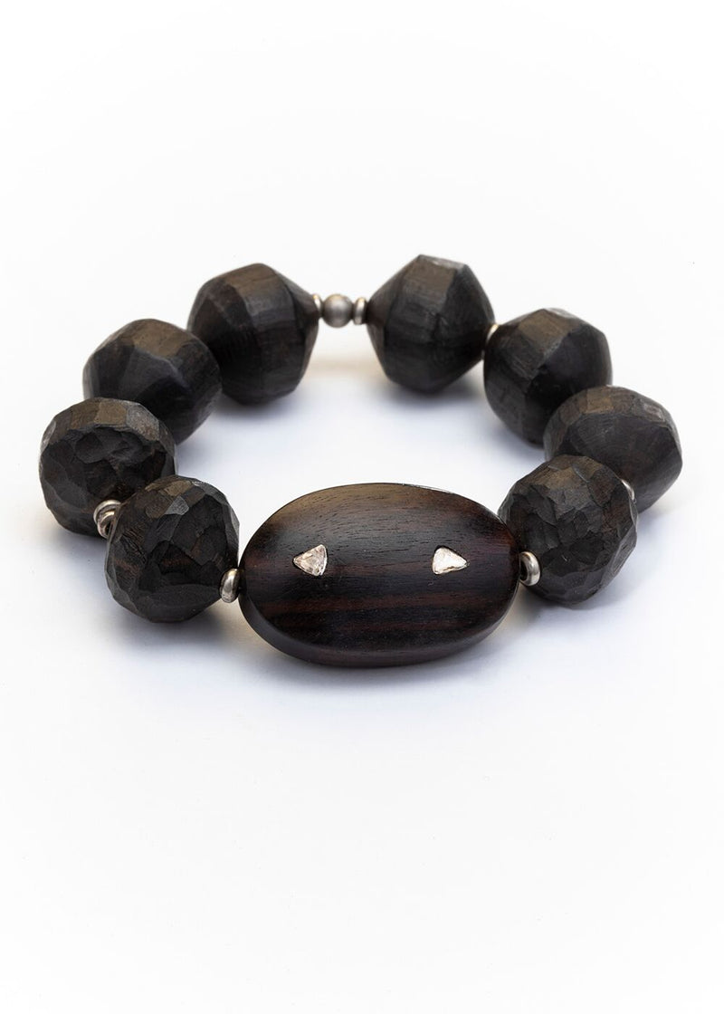 Vintage Hand Carved Wood Indonesian Beads from the Estate of Lou Zeldis w/ Wood & Diamond Slice Bead #2630-Bracelet-Gretchen Ventura