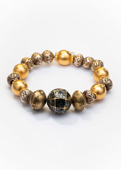 Gold & Black Raw Diamond, Gold Plate Silver Antique Indian, Brass Ethiopian Beads 2664-Bracelets-Gretchen Ventura