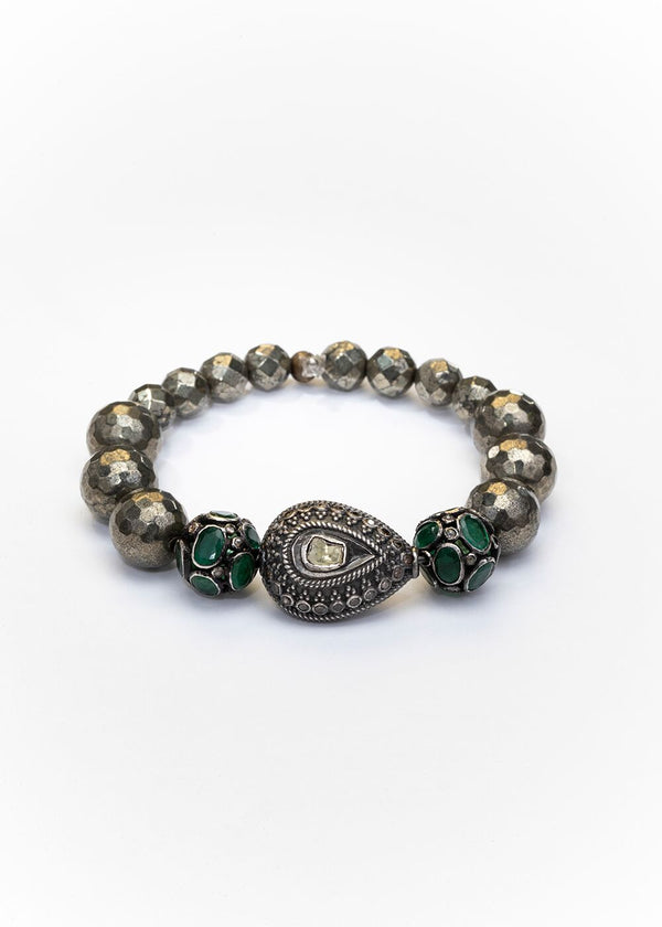 Rose Cut Diamond, Emerald & Diamond Bead, Faceted Pyrite Bracelet 2667-Bracelets-Gretchen Ventura