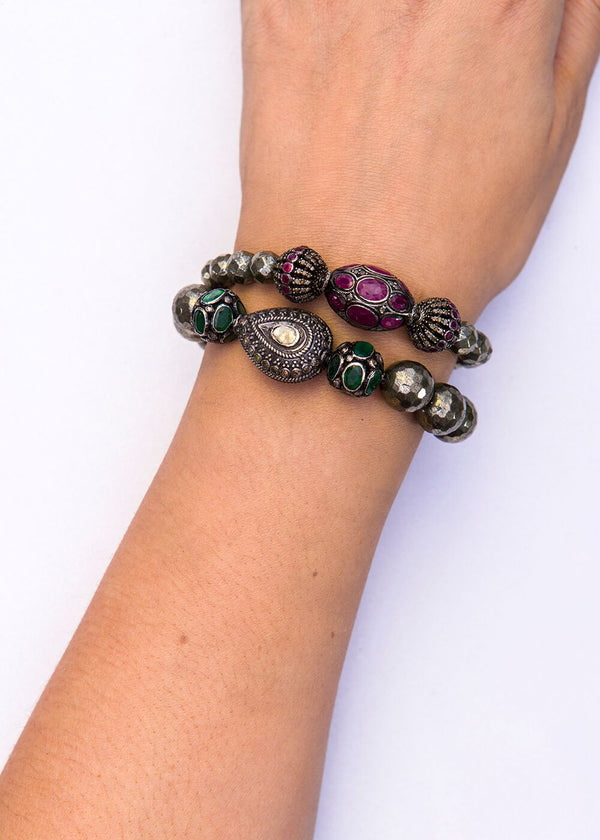 Ruby & Diamond Bead Trio & Faceted Pyrite Beads-Bracelet-Gretchen Ventura