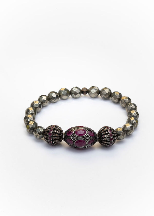 Ruby & Diamond Beads, Faceted Pyrite Bracelet 2668-Bracelets-Gretchen Ventura