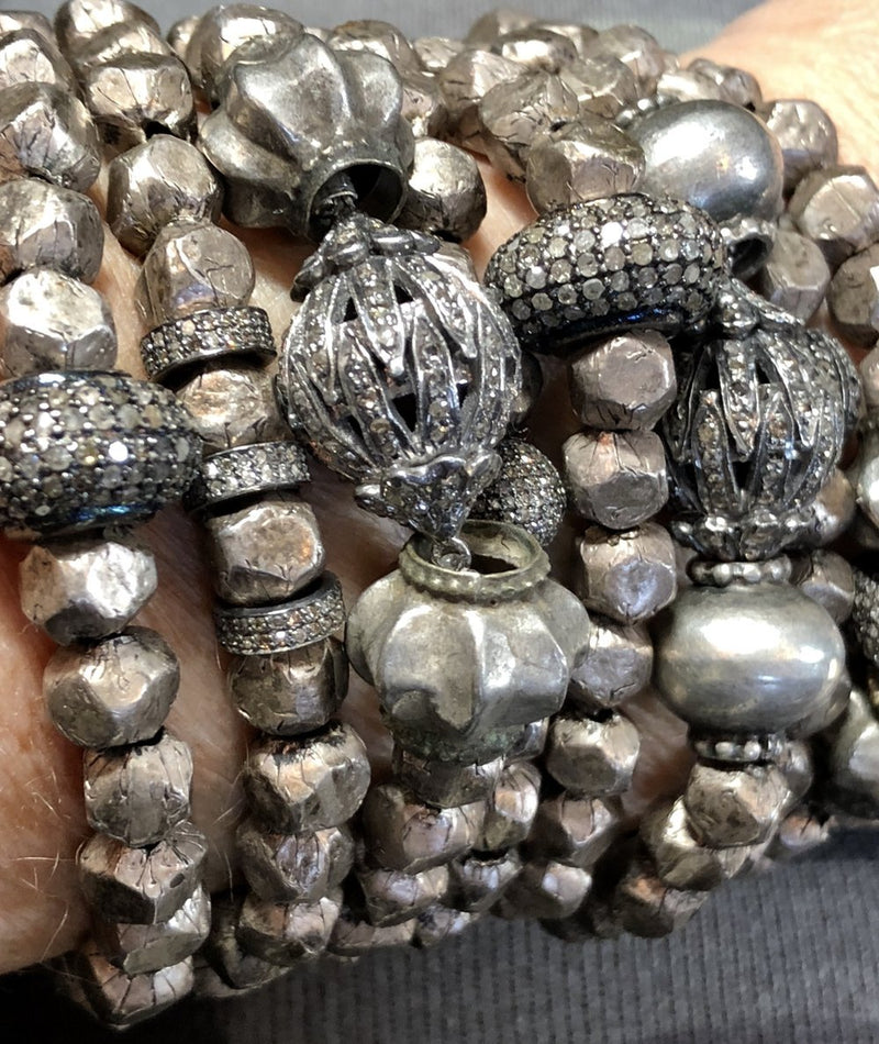 Antique Indian & Afghani Silver Beads, Diamond Wheel 2678-Bracelets-Gretchen Ventura