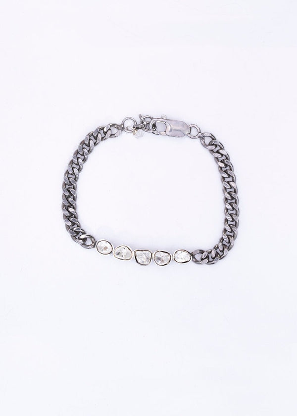 Rose Cut Diamond, Sterling Chain 2726-Bracelets-Gretchen Ventura