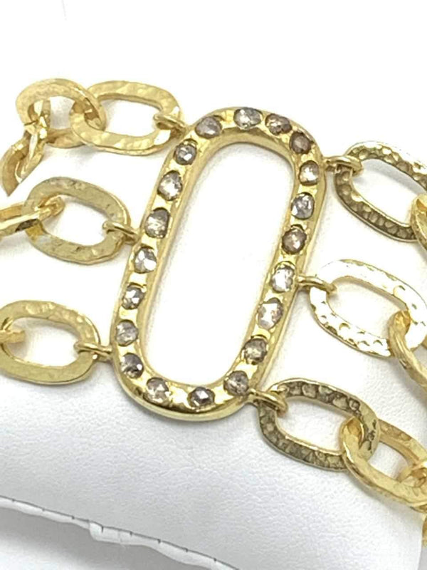 Gold Plate Sterling Silver links with Diamond Encrusted Oval & Clasp 2737-Bracelets-Gretchen Ventura