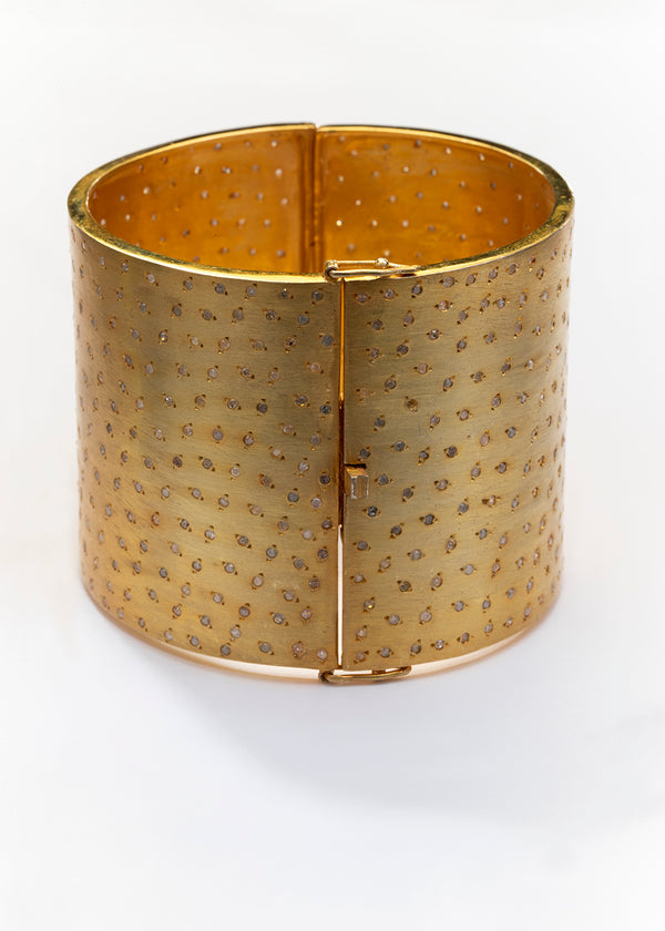 Gold Plate over Sterling & Pave Diamond Cuff 2760-Bracelets-Gretchen Ventura