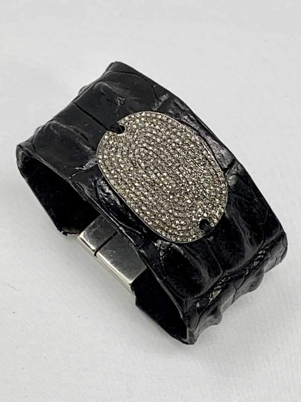 "Black Crocodile Cuff w/ Pave Diamond Oval Plate (1.5"" wide)-Bracelet-Gretchen Ventura"