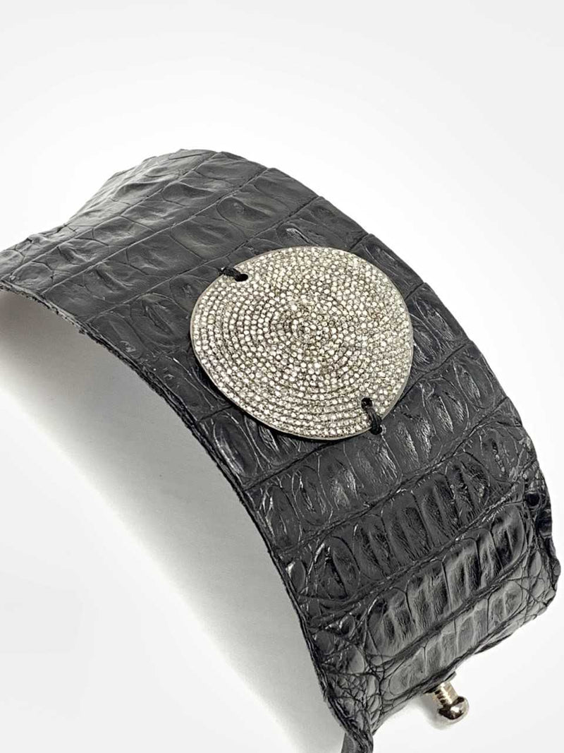 Black Crocodile Cuff w/ Diamond Plate (Wide)#2776-Bracelet-Gretchen Ventura