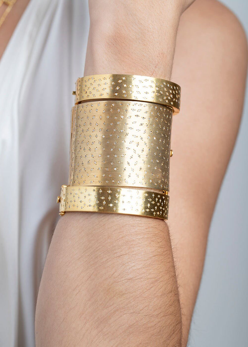 Gold Plate over Sterling & Pave Diamond Cuff #2793-Bracelets-Gretchen Ventura