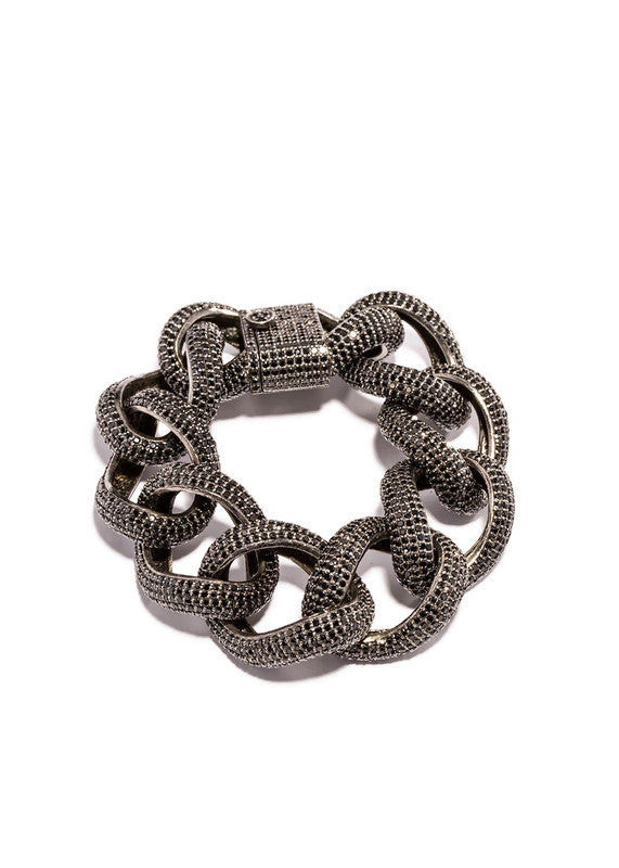 Black Spinel & Sterling Curb Chain Rock Star Bracelet #2805-Bracelets-Gretchen Ventura