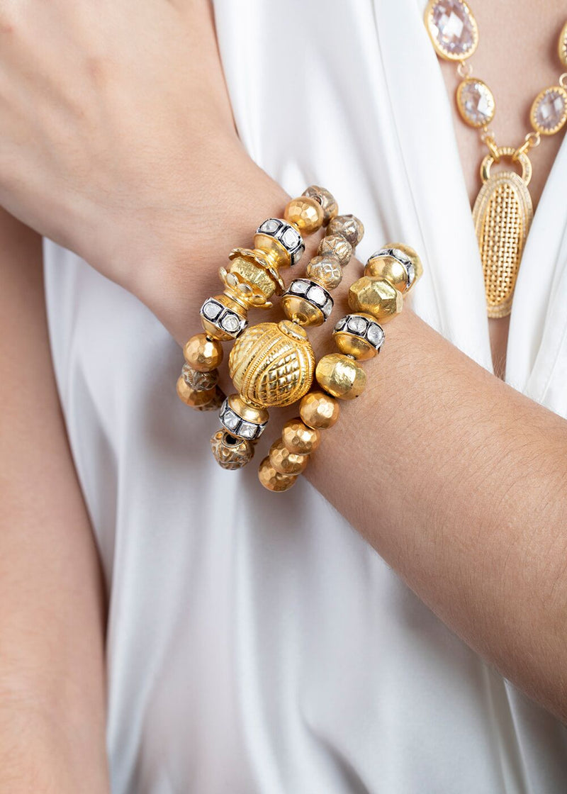 Rose Cut & Gold Beads, 22K Gold Hill Tribe & Gold Plate Silver Antique Afghani Beads 2815-Bracelets-Gretchen Ventura