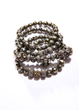 Vintage Quartz Crystal beads w/ Diamond Wheels & Faceted Pyrite #2829-Gretchen Ventura