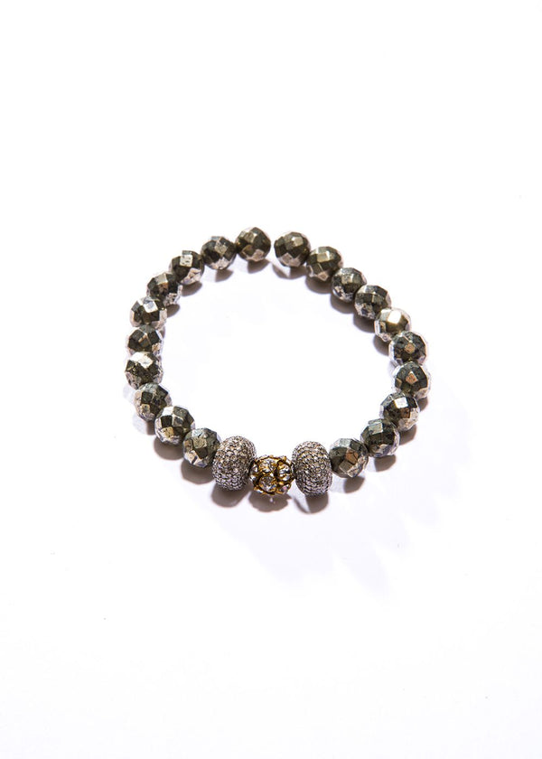 Vintage Crystal bead w/ Diamond Wheels & Faceted Pyrite #2830-Bracelets-Gretchen Ventura