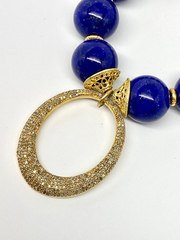 Blue Lapis Beads w/ Gold over Sterling Findings Bracelet and Diamond Oval #2847-Bracelets-Gretchen Ventura