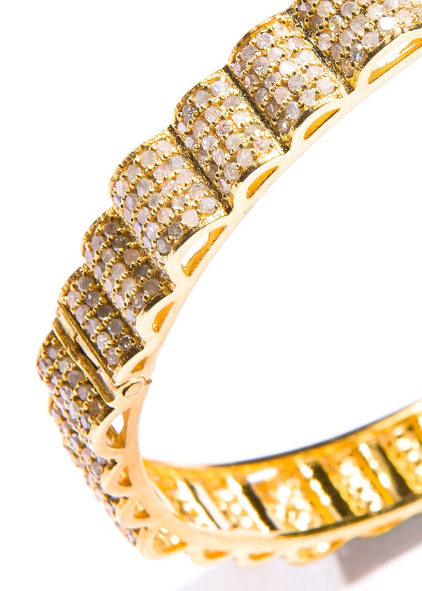 Pave Diamond on Gold Plate over Sterling Bangle #2857-Bracelets-Gretchen Ventura