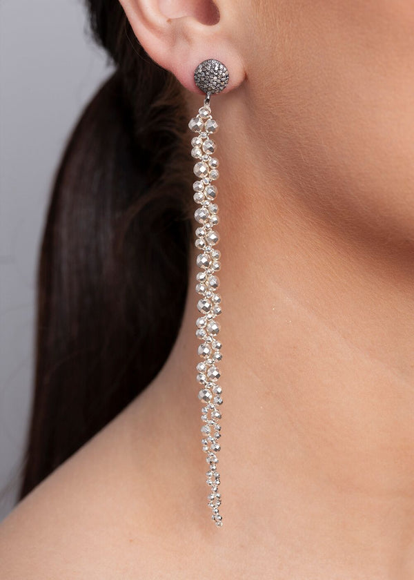 Faceted Pyrite & Sterling Macramé Earrings on Pave Diamond Post #3340-Earrings-Gretchen Ventura
