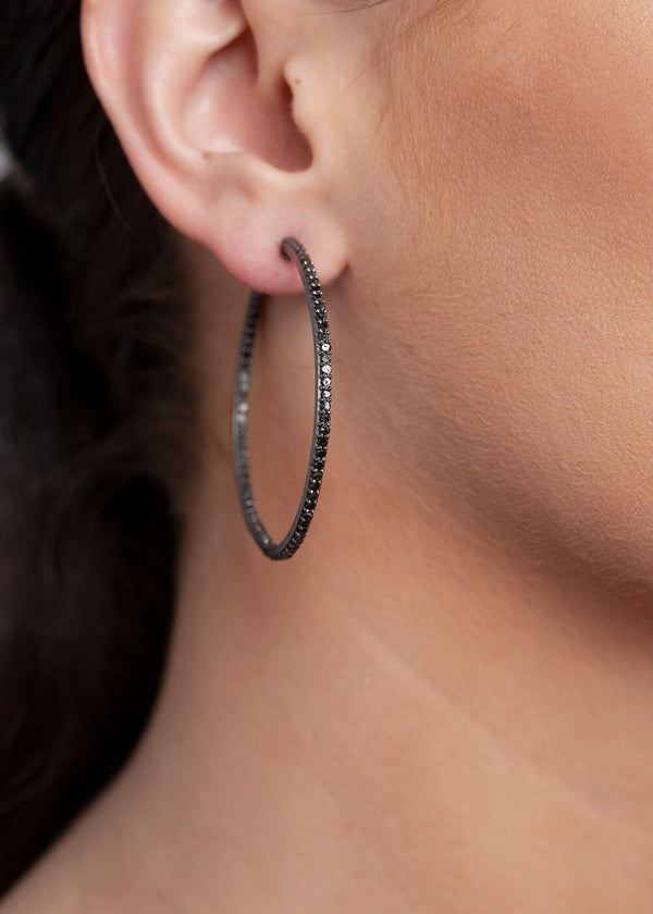 Black Diamond & Rhodium Plated Silver Hoops 3345-Earrings-Gretchen Ventura