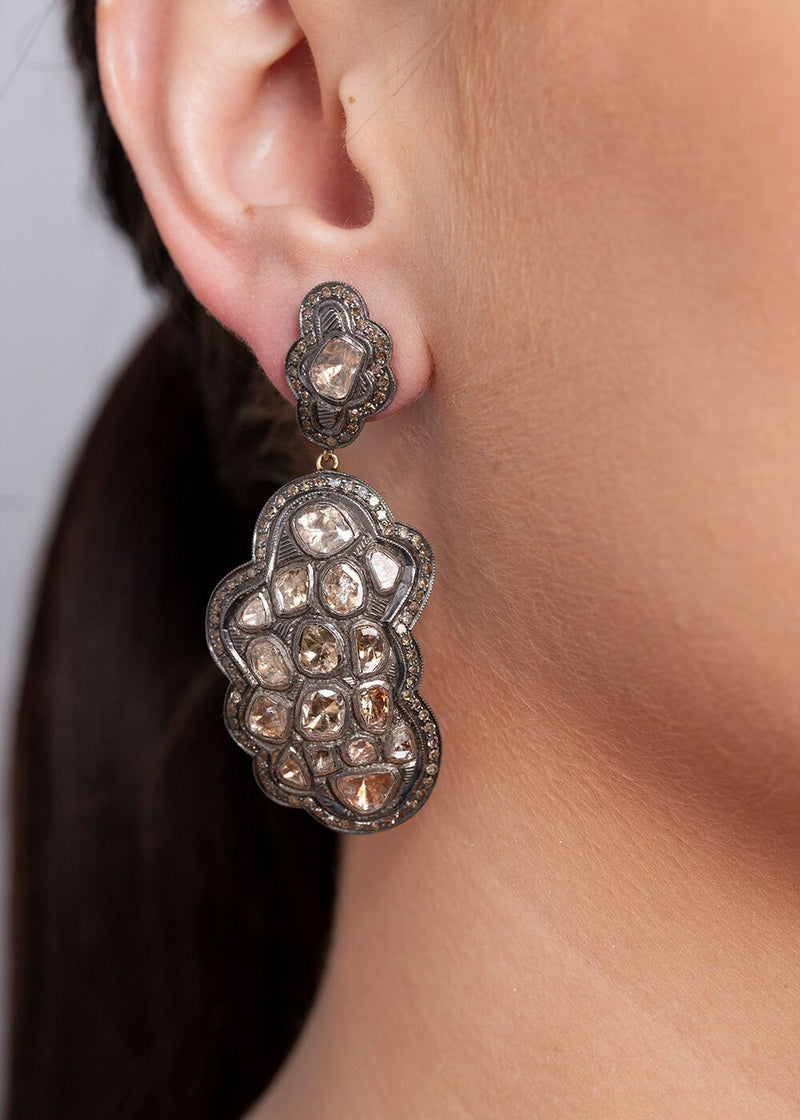 Rose Cut Diamond Drop Earrings 3349-Earrings-Gretchen Ventura