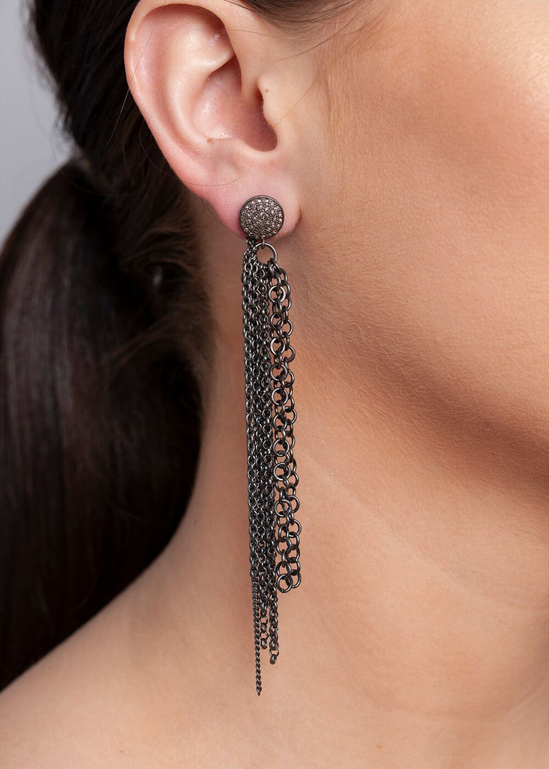 Blackened Sterling Chain Tassel on Diamond Post 3353-Earrings-Gretchen Ventura
