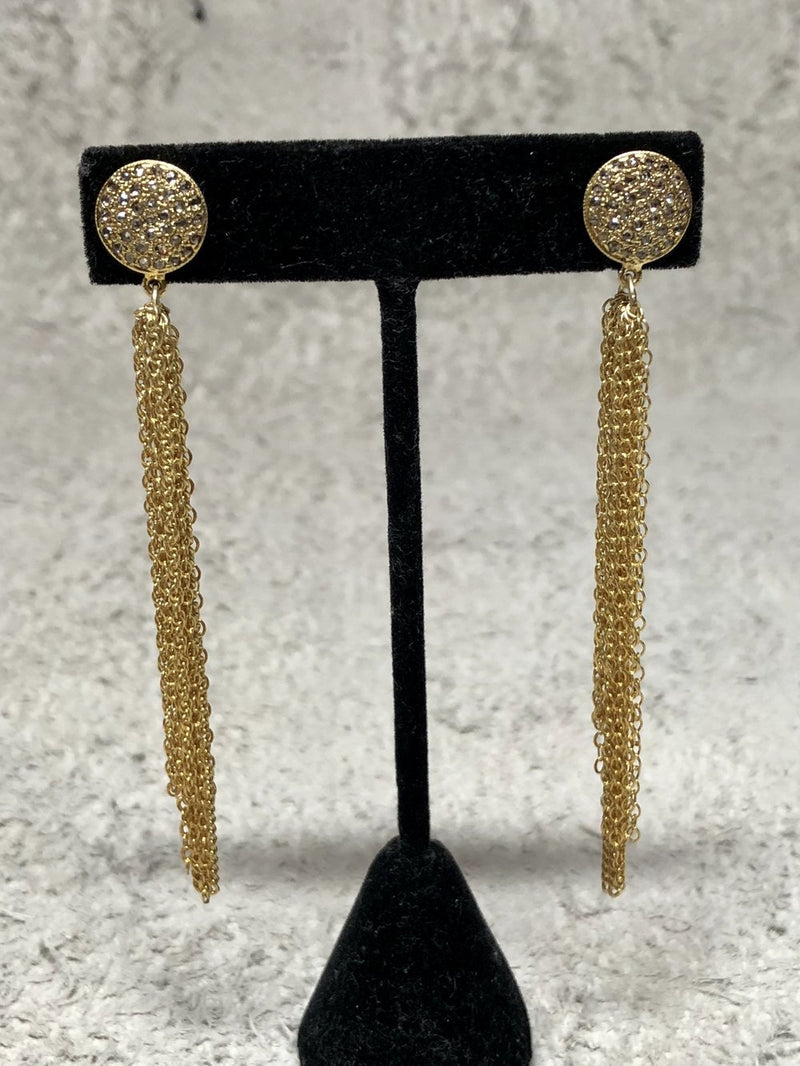 Gold Plated over Silver & Diamond Stud, Gold Plated over Silver Sterling Chain Tassel Earrings 3365-Earrings-Gretchen Ventura