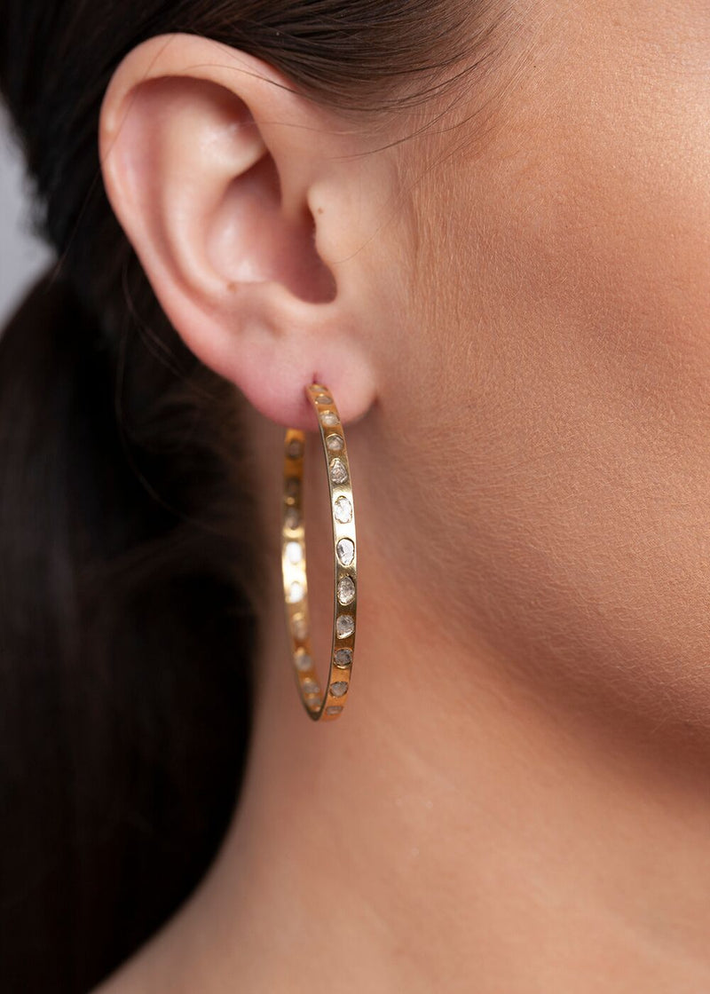 Gold Plate over Sterling and Conflict free Diamond Slice Hoops-Earrings-Gretchen Ventura
