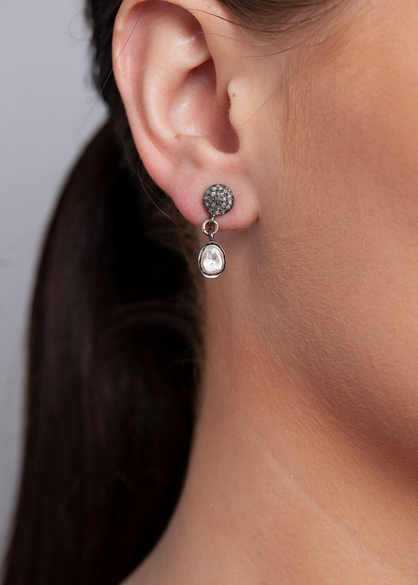 Rose Cut Diamond Drop Earrings on Rose cut Diamond Post #6514-Earrings-Gretchen Ventura