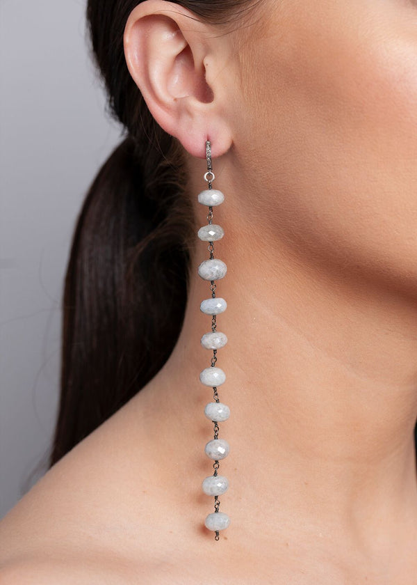 Faceted Silverite Plated Aqua Marine Rosary Chain Earrings on Diamond Post #6505-Earrings-Gretchen Ventura