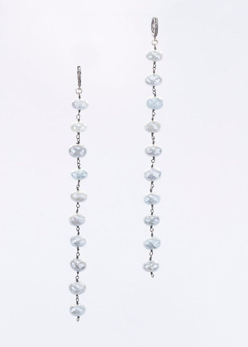Faceted Silverite Plated Aqua Marine Rosary Chain Earrings on Diamond Post 6505-Earrings-Gretchen Ventura