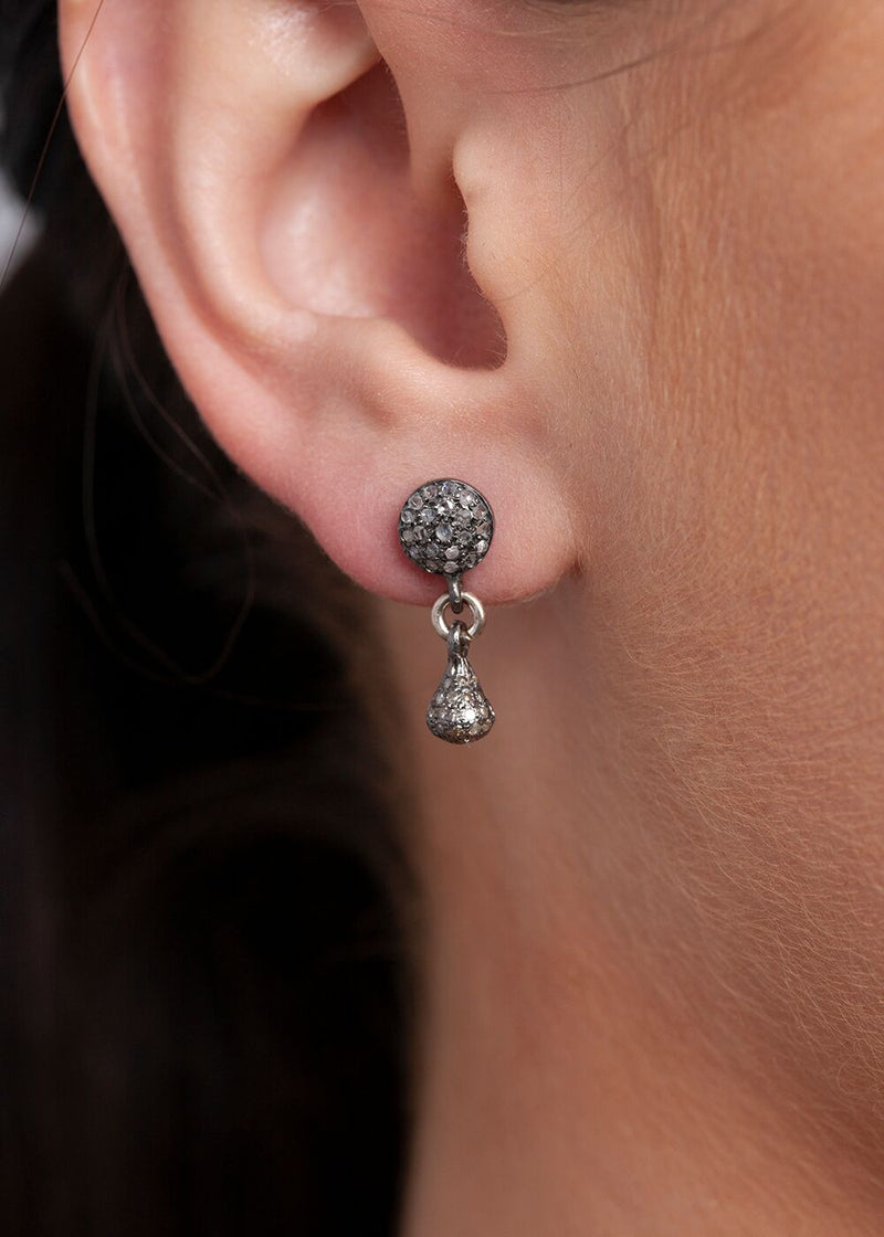 Pave Diamond Tear Drop Earrings on Diamond Post #3378-Earrings-Gretchen Ventura