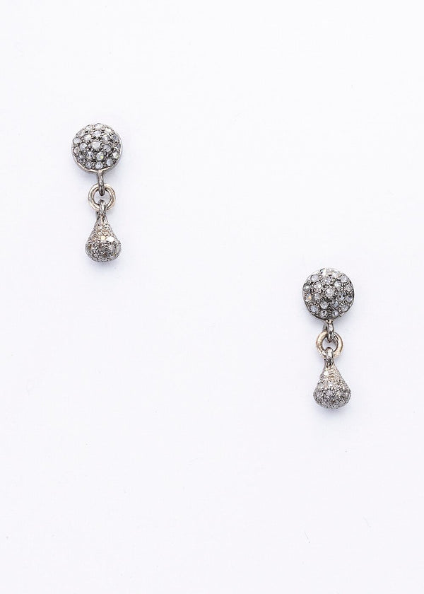 Pave Diamond Tear Drop Earrings on Diamond Post 3378-Earrings-Gretchen Ventura