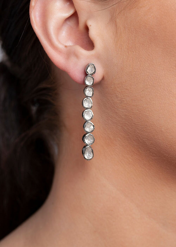 Rose Cut Diamond & Sterling Drop Earrings 3380-Earrings-Gretchen Ventura