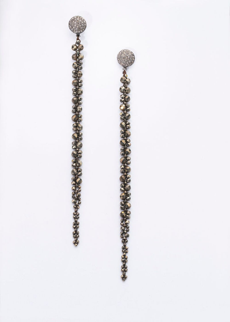 Faceted Natural Pyrite Macramé Earrings on Diamond Post 3382-Earrings-Gretchen Ventura