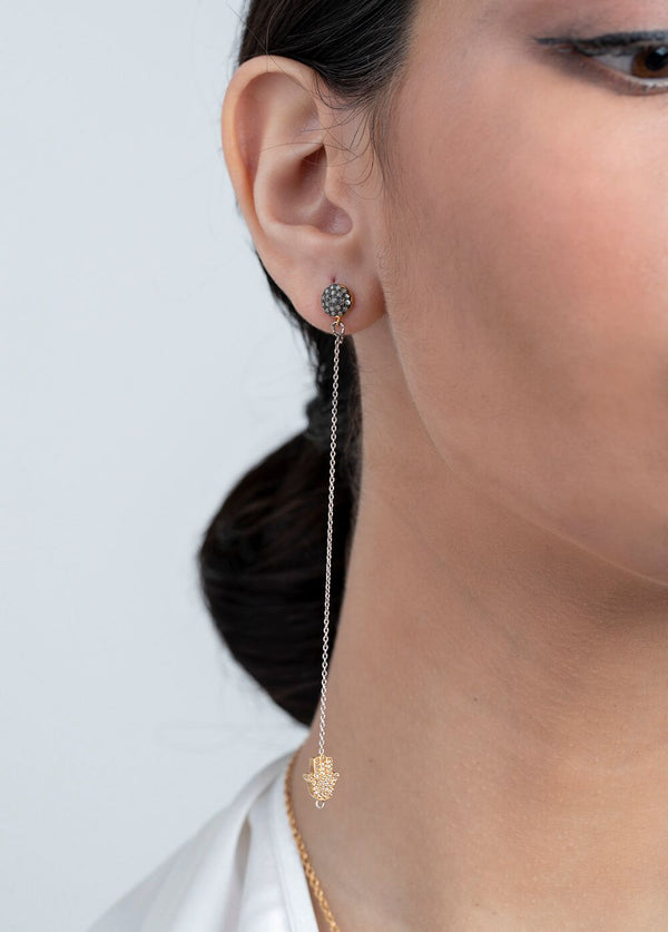 Gold Plate over Sterling & Diamond Hamsa W/Gold Plate over Sterling Chain Earrings #6503-Earrings-Gretchen Ventura
