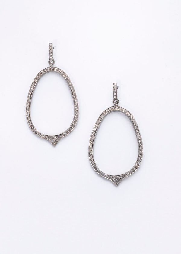 Diamond Pave Loop Drop Earrings #3393-Earrings-Gretchen Ventura
